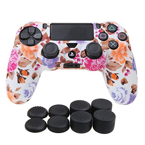 Skin Silicone - YoRHa Water Transfer Printing Camouflage Silicone Cover Skin Case for Sony PS4/slim/Pro Dualshock 4 controller x 1(flowers) With Pro thumb grips x 8