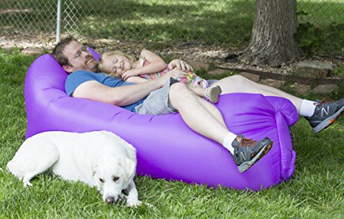 Inflatable Lounger with Carry Bag. Portable Inflatable Sofa for Camping, Beach, Backyard, or Inside. Made from Durable Ripstop Nylon, and Inflates in Seconds.