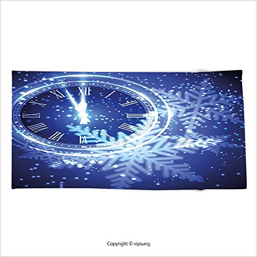 New Years Countdown Clock - Vipsung Microfiber Ultra Soft Bath Towel Clock Decor Countdown To New Year Theme A Clock Holiday Lights And Snowflakes Pattern Design Blue For Hotel Spa Beach Pool Bath