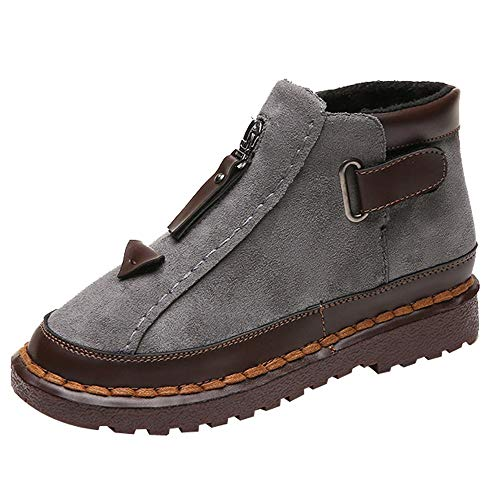 Womens Chelsea Platform Flat Bottom Martin Ankle Boots Platform Chunky Thick-Soled Colorblock Shoes (Gray, US:7 / Foot Length:9.3-9.5