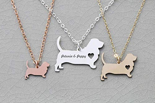 Hound Basset Jewelry - Basset Hound Dog Necklace - IBD - Hush Puppy - Personalize with Name or Date - Choose Chain Length - Pendant Size Options - 935 Sterling Silver 14K Rose Gold Filled Charm - Ships in 1 Business Day
