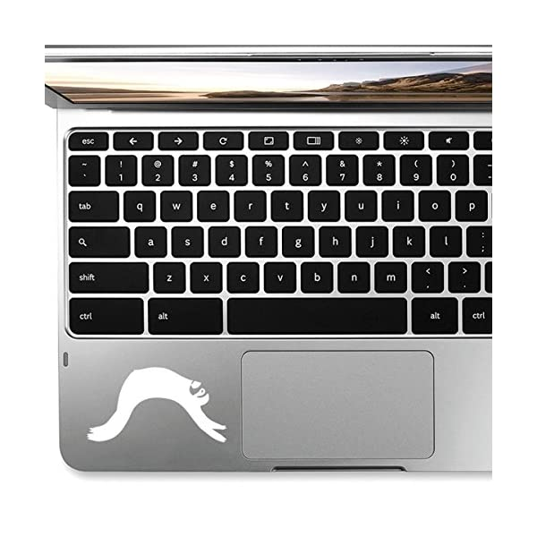 Stickany Palm Series Sloth Lazy Sticker For Macbook Pro, Chromebook, And Laptops (White) -