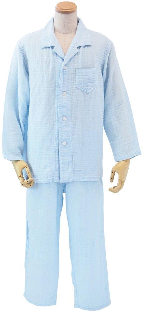 UCHINO クレープガーゼ メンズパジャマ (M) ライトブルー RPZ15005 M LB B01822M636 M|水色 水色 M