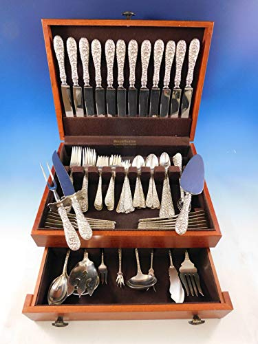 Rose by Stieff Sterling Silver Flatware Set for 12 Service 97 pc Repousse Dinner