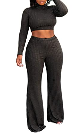 4d1815e32f5a Amazon.com  OLUOLIN Women Knit Long Sleeve 2 Piece Outfits Turtleneck Crop  Top Wide Leg Bell Long Pants Set Jumpsuits  Clothing