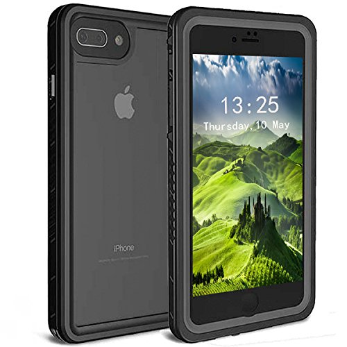 TRONOE iPhone 7 Plus/8 Plus Waterproof Case, Clear Back Upgraded Extreme Durable with Built-in Screen Drop Resistance Fully Sealed Shock Dirt Snow Proof Cover Case for iPhone 7 Plus/8 Plus. (Black)