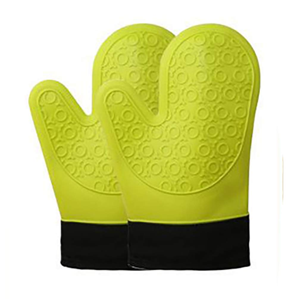 ADIDO EVA Silicone Oven Mitts with Quilted Liner 1 Pair Heat Resistant Oven Gloves for Cooking Baking Grilling Barbecue Potholders Oven Mitts Green