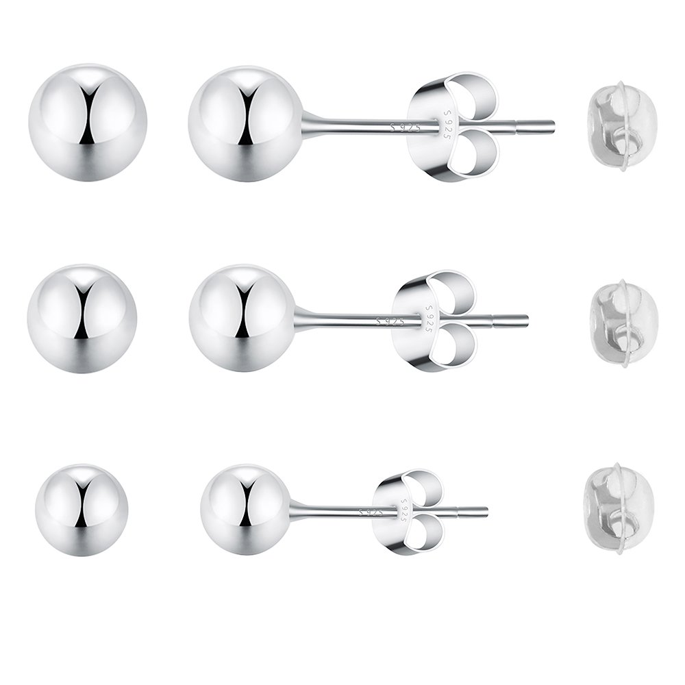 Sterling Silver Bead Ball Hypoallergenic Platinum-plated Stud Earrings NOT Stainless Steel 3 Pair Sets in Size 3-4-5mm for Women & Men's Cartilage,Ears Piercing with Bigger Backs