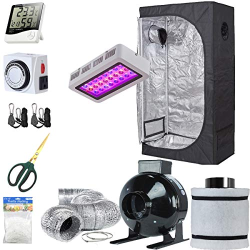 TopoLite Grow Tent Setup Complete Kit LED 300W Grow Light + 36
