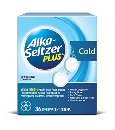 Alka-Seltzer Plus Cold Medicine, Sparkling Original Effervescent Tablets With Pain Reliever/Fever Reducer, Sparkling Original, 36 Count (Seltzer Cold Alka And Sinus)