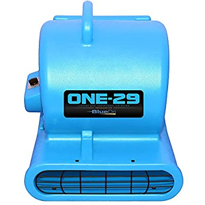 BlueDri One-29 1/3 HP 2900 CFM 2.9 AMPS Portable Fully Stackable GFCI 4 Unit Daisy Chain Capability Air Mover Carpet Dryer with 25 Feet Cord