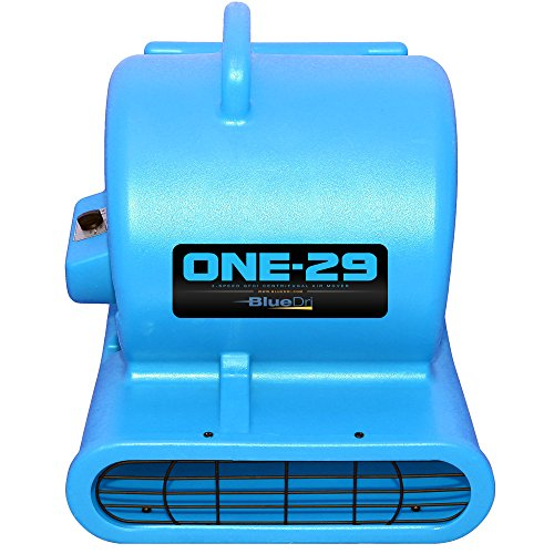 BlueDri One-29 1/3 HP 2.9 AMPS Portable Fully Stackable GFCI 4 Unit Daisy Chain Capability Air Mover Carpet Dryer with 25 Feet Cord Blue by BlueDri