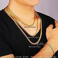 """U7 Men's Gold Tone 18k Stamp Snake Chain Neckalce and Bracelet Jewelry Set ,18"""" 22"""" 26"""""""