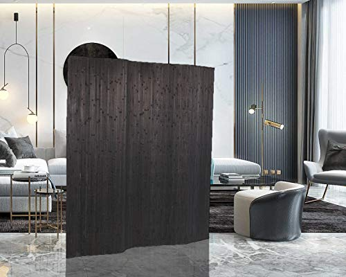 Legacy Decor Bamboo Room Divider Screen Panel Partition 71' High X 70' Wide (Same as of 4 Panels) Black Color (Room Divider Coil)