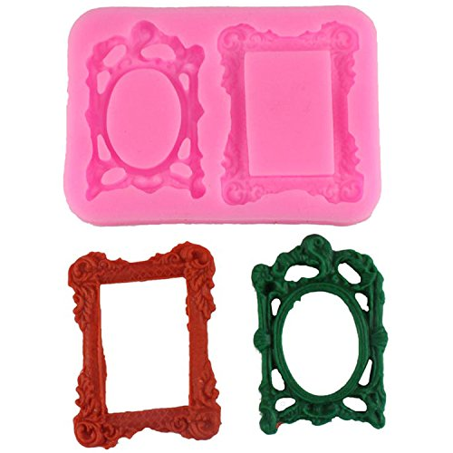 Silicone 3D Mirror Frame Fondant Mould Cake Decorating Baking Mold - 1