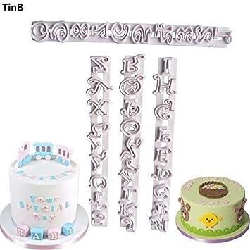 Juego de 4 moldes para decoración de tartas con letras del alfabeto, moldes de fondant
