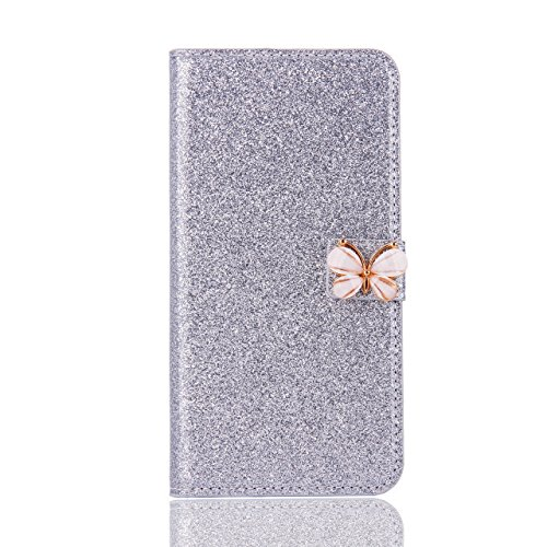 Price comparison product image Stand Wallet Card Case Cover,Elaco Women Iphone Case For iPhone 6/6s 4.7 inch /For iPhone 6 Plus 5.5inch/ iPhone 7 4.7inch/iPhone 7 Plus 5.5inch (Silver, iPhone 7 Plus 5.5inch)