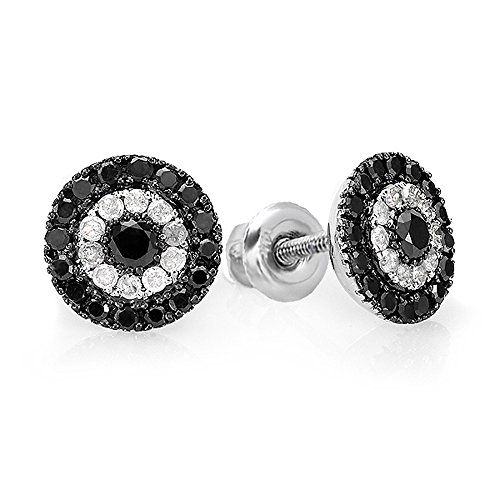 Dazzlingrock Collection 1.00 Carat (ctw) Black & White Round Cut Diamond Circles Stud Earrings 1 CT, Sterling ()
