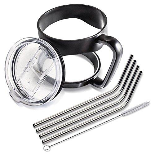Rambling 30 Oz Stainless Steel Insulated Tumbler Mug Handle+2PC Straws+1PC Cleaning Brush