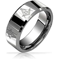 Square & Compass Freemason Masonic Wedding Band Tungsten Ring for Men Polished Silver Tone Comfort Fit 8MM