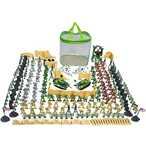 (EASYWAY Plastic Army Men Toys with 4 Colors, Soldier Figures with Tanks, Aircraft and Accessories for Playset in 250 Pieces)