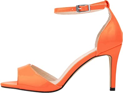 3ada1f6a25a4 Salabobo Womens Sexy Wedding Bride Bridesmaid OL Night Party Work Stiletto  Peep Toe PU Sandals Orange