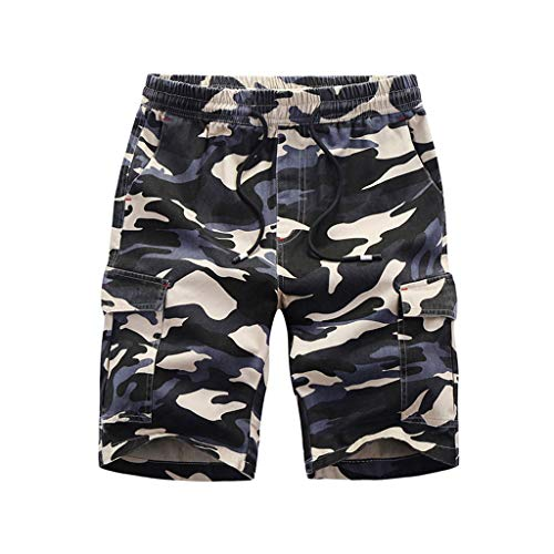 Homeparty Beach Shorts Pants Men's Summer Casual Loose Camouflage Printing Patchwork Sport