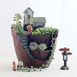 carnosas maceta para decoración de flores Cactus flores plantas, DIY Fairy jardín recipiente con miniatura casa