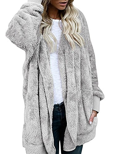 Our Wings Women Grey Winter Warm Outwear Fleece Sherpa Jacket Hooded Coat With Pocket S