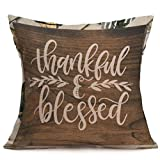 "Hot Sale!!Soft Linen 18"" x 18"" Cushion Cover Home Decor,Happy Fall Thanksgiving Day Pillow Case (B)"