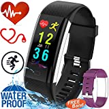 GBD 0.96″ IP68 Waterproof Sport Fitness Tracker Smart Watch for Men Women Kids Boys Girls Gift Travel Camping with Heart Rate Blood Pressure Monitor Wearable Bracelet Wrist Watch for Android iOS Black