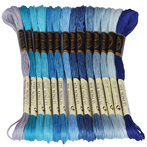 Blue Embroidery Floss - Premium Rainbow Color Embroidery Floss - Cross Stitch Threads - Friendship Bracelets Floss - Crafts Floss - 14 Skeins Per Pack Embroidery Floss, Electric Blue Gradient