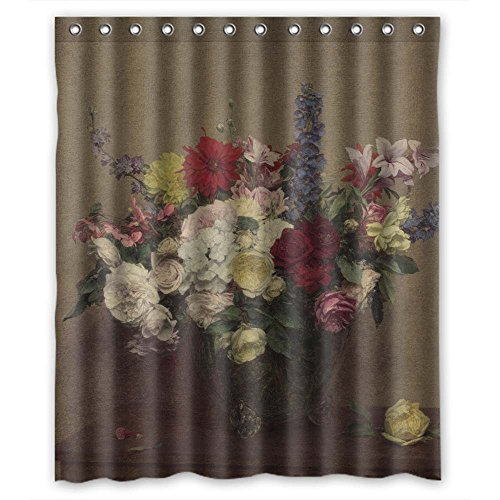 [Monadicase Famous Classic Art Painting Flowers Blossoms Bathroom Curtains Polyester,best For Custom,lover,kids,bf,birthday. Healthy Width X Height / 60 X 72 Inches / W H 150 By 180] (Trailer Trash Outfits)