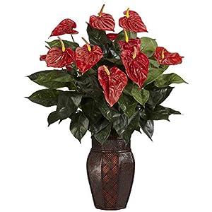 MARJON Flowers Anthurium with Vase Decorative Silk Plant, Red 74