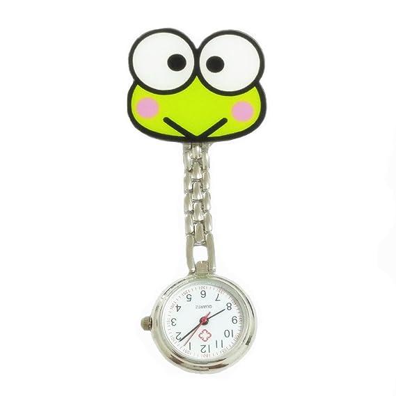 Linda Verde Rana Reloj de Enfermera Reloj de Cuarzo los Niños Miran Reloj de Bolsillo con Clip: Amazon.es: Relojes