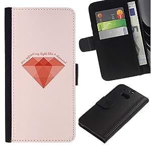HTC One M8 , la tarjeta de Crédito Slots PU Funda de cuero Monedero caso cubierta de piel (Minimalist Diamond)