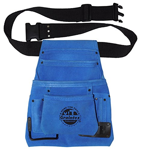 (Graintex SS2138 10 Pocket Blue Color Suede Leather Nail & Tool Pouch with 2