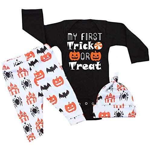 Halloween Baby Outfits Boy Girl My First Halloween Romper + Pumpkin Pants Clothes Sets 0-3 Months ()