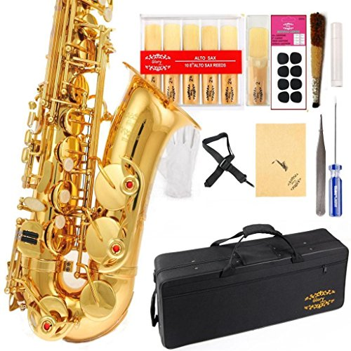 Glory Professional Alto Eb SAX Saxophone Gold Laquer Finish, Alto Saxophone with 11reeds,8 Pads Cushions,case,carekit,Gold Color, NO NEED TUNING, PLAY DIRECTLY (Saxophone Mendini Alto)