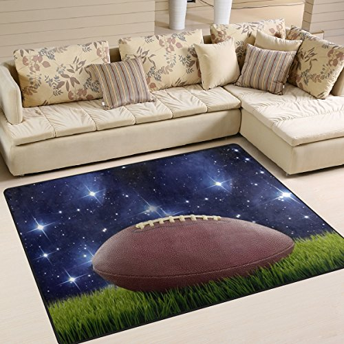 Naanle Sport Area Rug 5'x7', Football on Green Turf and Stars in Sky Polyester Area Rug Mat for Living Dining Dorm Room Bedroom Home Decorative - Football Sports Rug