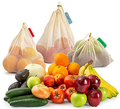 Reusable Produce Bags w/Reusable Grocery Bag 11-Piece Set (4 Large, 3 Medium, 3 Small) Organic Cotton Mesh | Transport, Store & Organize Fruits and Vegetables | Color-Coded, Washable, Durable Eco Bag