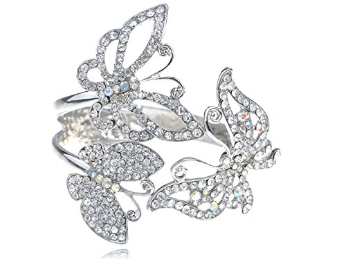 [Alilang Silvery Tone Clear Crystal Colored Rhinestones Butterfly Bangle Cuff Bracelet] (Butterfly Costume Jewelry)
