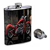 Perfection In Style 8oz Stainless Steel Whiskey Flask with Free Funnel Motorcycle Design-011