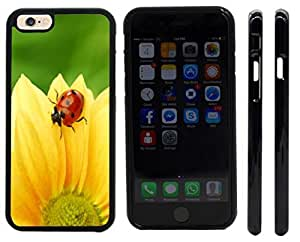 Rikki KnightTM Ladybug on Yellow Flower Design iPhone 6 Case Cover (Black Rubber with front bumper protection) for Apple iPhone 6