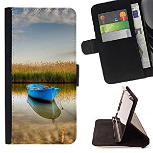 BullDog Case - FOR/Sony Xperia m55w Z3 Compact Mini / - / Nature Boat /- Monedero de cuero de la PU Llevar cubierta de la caja con el ID Credit Card Slots Flip funda de cuer