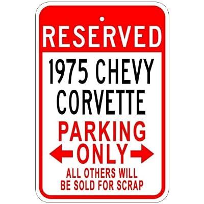 1975 75 Chevy Corvette en aluminium Parking Sign, Aluminium, blanc, 10 x 14 Inches Cuisine & Maison