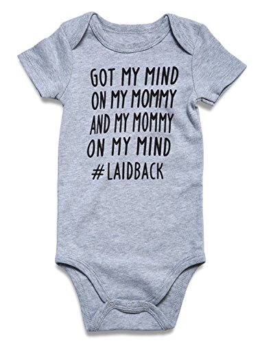 Babe Baby Boys Girls Funny Letter Ptinted 1/2 Birthday Bodysuits Rompers Outfits Jumpsuit My Mommy on My Mind Ptint Stretchable Neck Opening Romper 1 Pack (6-12 Months,Got My Mind on My Mommy)