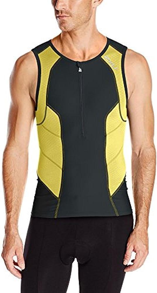 New 2XU Men Compression Tri Singlet MEDIUM Black Green Triathlon Sleeveless Top