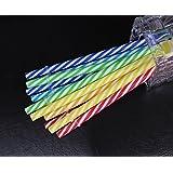 KKMO BPA-Free Reusable Plastic Thick Drinking Straws 12 Piece Mason Jar Straws Mix Color Small Stripe