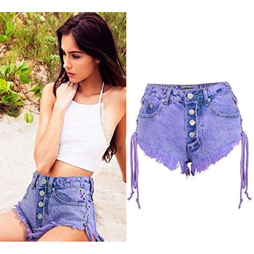 Alta In Wgwioo Beach Vita Purple Con Donna Jeans Da Bohemia In Pantaloncini Da Spiaggia Elasticizzato Denim 660t8r